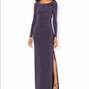 Lauren by Ralph Lauren Long Sleeve Beaded Gown